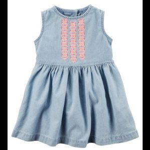 Carter's Embroidered Chambray Dress Size 9 mo